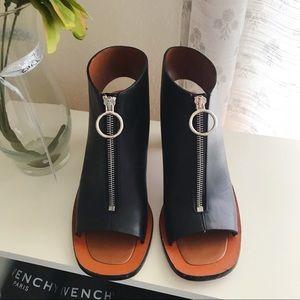 Celine leather zip up block sandals